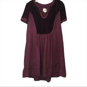 Maeve Anthropologie Velvet Trim Mini Swing Dress